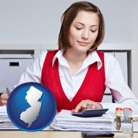 new-jersey map icon and a bookkeeper
