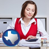 texas map icon and a bookkeeper