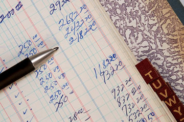 a traditional bookkeeping ledger